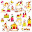 Cute cartoon buildings. Set of children's stickers. — Stock Vector