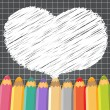 Heart speech bubble with pencils. — Stock Vector #44287001