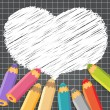 Heart speech bubble with pencils. — Stock Vector