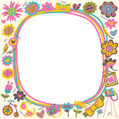Flower Love cute frame with fashionable things. — 图库矢量图片