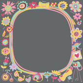 Flower Love cute frame with fashionable things. — Stock Vector