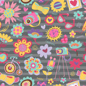 Flower seamless pattern with fashionable things — Vector de stock