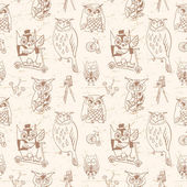 Vintage seamless pattern with Owls. — Vector de stock