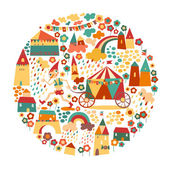 Childrens circle background with happy houses and the fairytale — 图库矢量图片