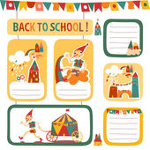 Set of school childrens stickers and labels with houses and the — Stock Vector