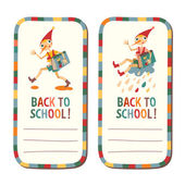 Set of school childrens labels with the fairytale boy with plac — 图库矢量图片