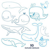 Set of cute doodle Whale Characters. Hand drawn vector illustrat — Stock Vector