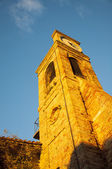 Fiorenzuola city bell tower with clock — Stock Photo