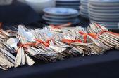 Antique silverware antique market — Stock Photo