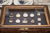 Antique pocket watches antique market — Stock Photo