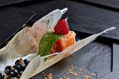 Appetizer of Salmon smoked — Stock Photo
