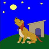 Dog howling at the Moon — Stock Vector