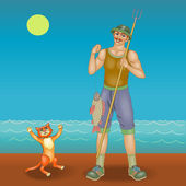 Lucky fisherman and his cat — Stock Vector