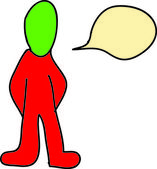 Man with bubble talk — Stock Photo