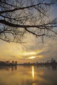 Sunset on the lake — Stock Photo