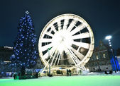 Moving circle luna park at christmas time — Stockfoto