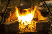 火に coocking — ストック写真