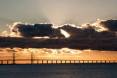 Sunset on the oresundsbron (oresundsbridge) — Foto de Stock