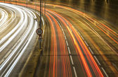 Night traffic in the city ,light trace — Stock Photo