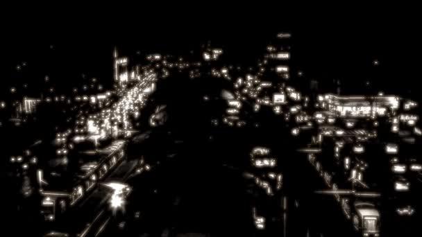 El tráfico en la ciudad de noche — Vídeo de stock