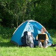 Camping and Technology — Stock Photo