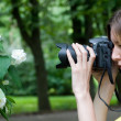 Photographing flower — Stock Photo