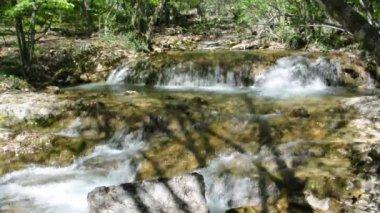 красивый горный ручей — Стоковое видео