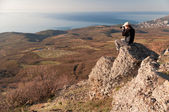 Photographer on the top of world — Stockfoto