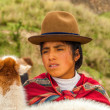 Peruvian Shepherdess with Lama — Stock Photo