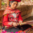 Stock Photo: Weaving Woman