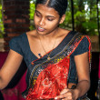 Young Girl Produces Batik — Stock Photo