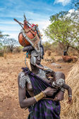 Omo Valley people - Mursi woman with child — Stock Photo