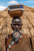 Omo Valley people - Mursi woman with lip plate — Stock Photo