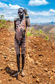 Omo Valley people - Mursi painted man — Stock Photo