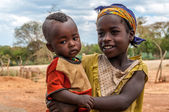 Sister with brother from Alduba. — Stock Photo