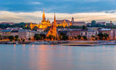 Evening view at the Buda quarter in Budapest — Stock Photo