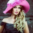 Girl in a pink hat retro — Stock Photo