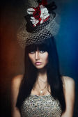 肖像复古帽子里漂亮的女孩 — 图库照片