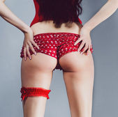 Sexy brunette girl looks back while standing and holding his ass ass  in red panties and corset heels with garter in the studio — Stock Photo