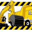 Excavator and truck in construction illustration — Stock Vector
