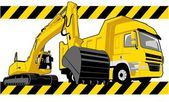 Excavator and truck in construction illustration — Wektor stockowy