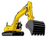 Yellow excavator — Stock Vector