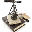 Vintage brass telescope on antique map — Stock Photo #26935785