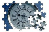 Puzzle with a clock — Stock Photo