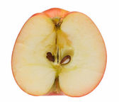 Macro of ripe red apple cross-section — Stock Photo