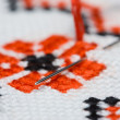 Stock Photo: Needle in embroidery