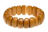 Wooden juniper bracelet over white — Stock Photo
