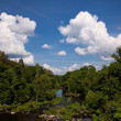 Landscape and cloudscape of river valley — Stock Photo