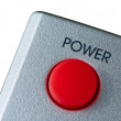 Big red Power button isolated on white — Foto Stock