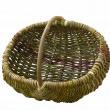 Empty handmade woven basket isolated on white — Stock Photo